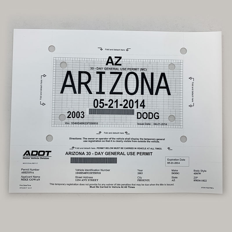 graphic relating to Printable Temporary License Plate referred to as ADOT Short-term License Plate Sheets