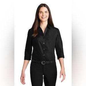 Port Authority Ladies 3/4-Sleeve Carefree Poplin Shirt. LW102