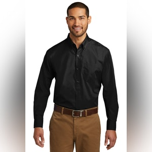 Port Authority Tall Long Sleeve Carefree Poplin Shirt. TW100