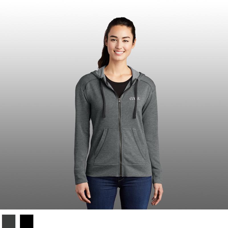 Sport-Tek ® Ladies PosiCharge ® Tri-Blend Wicking Fleece Full-Zip Hooded Jacket
