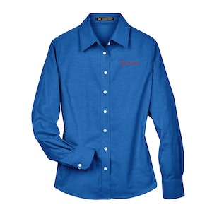 Harriton Ladies' Long-Sleeve Oxford with Stain-Release