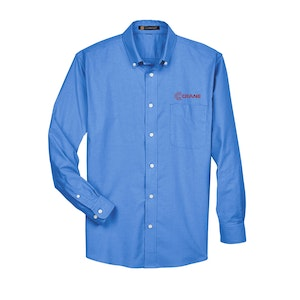 Harriton Men's Long-Sleeve Oxford with Stain-Release