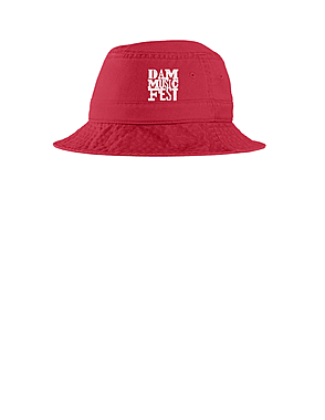 Red Bucket Hat with White Embroidery $25.00