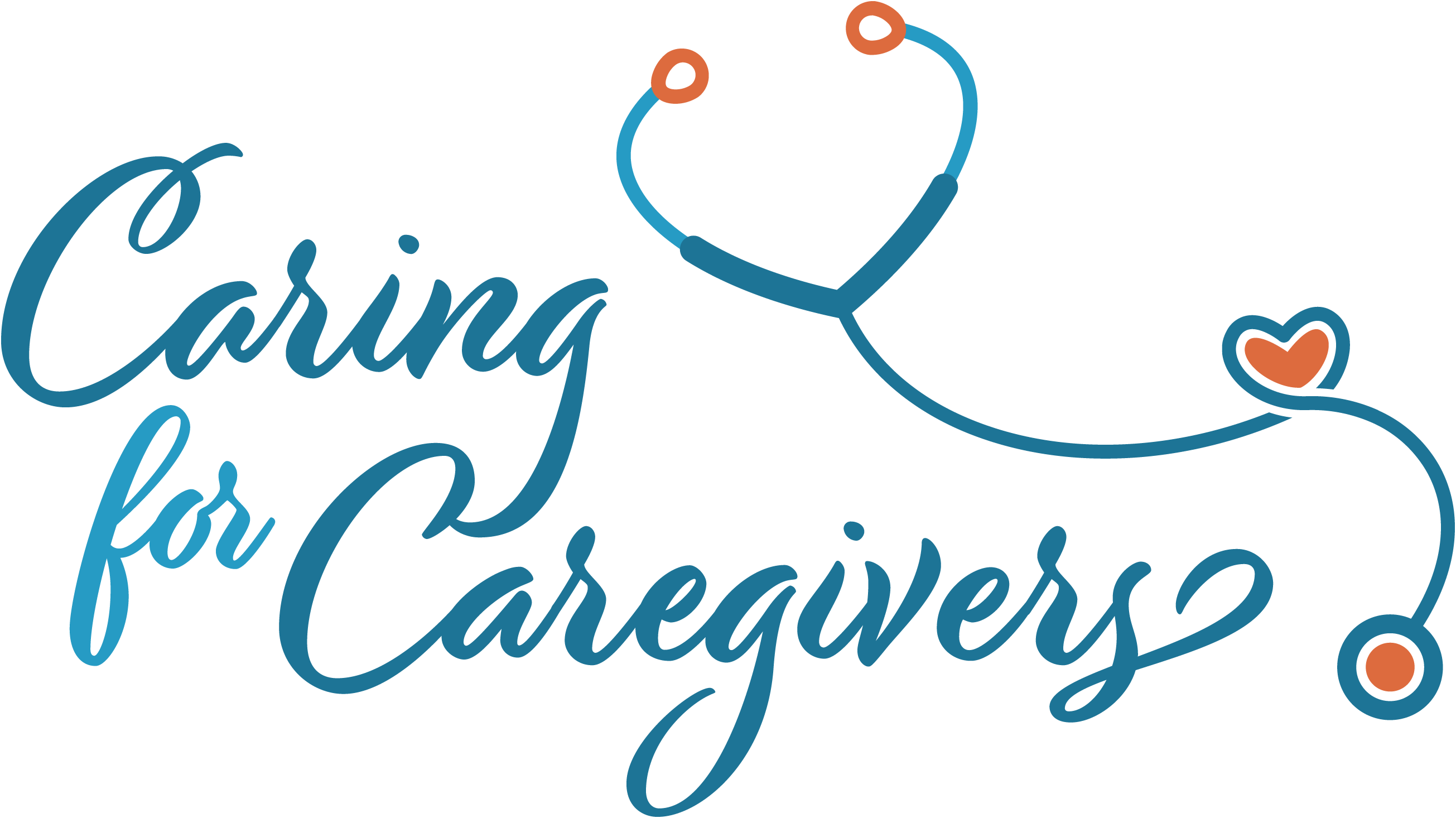 EHOB Caring for Caregivers logo blue cursive text with stethescope heart shape