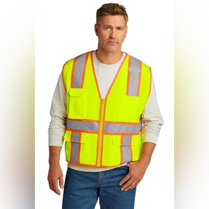 ANSI Class 2 Surveyor Zippered Two-Tone Vest-Screen Printed -1 Color