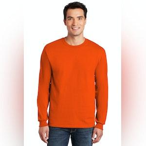 Gildan Ultra Long Sleeve Tee-HI Vis  Safety Green/Safety Orange