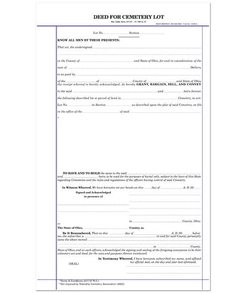 cemetery deed forms Minute Book Sheets