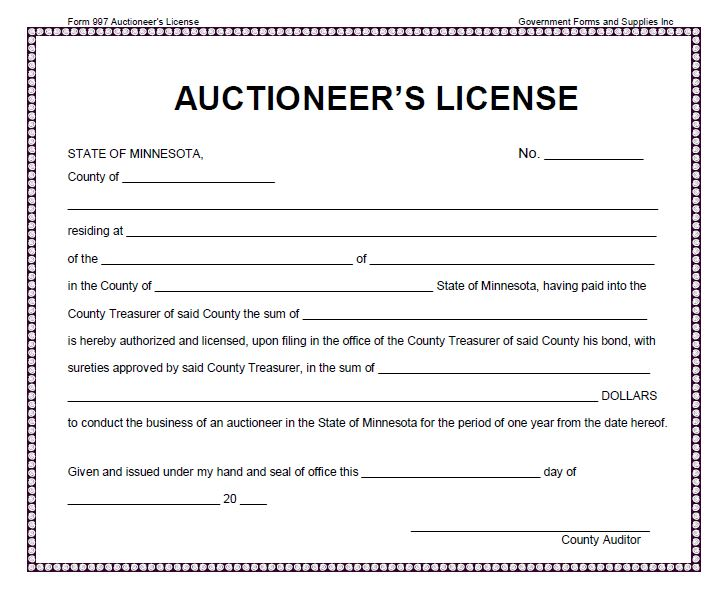 Auctioneer's License
