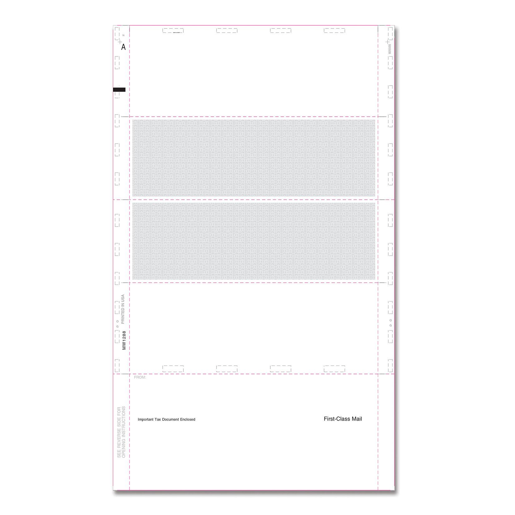 """W2 Blank 4-Up Horizontal w/Backer 14"""""""