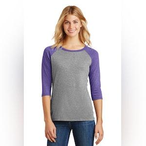 District Women's Perfect Tri 3/4-Sleeve Raglan. DM136L