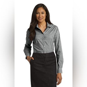 Port Authority Ladies Long Sleeve Gingham Easy Care Shirt. L654