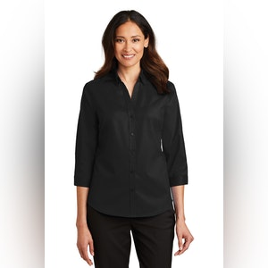 Port Authority Ladies 3/4-Sleeve SuperPro Twill Shirt. L665