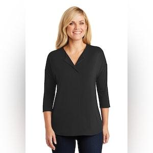 Port Authority Ladies Concept 3/4-Sleeve Soft Split Neck Top. LK5433