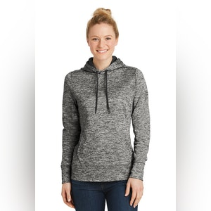 Sport-Tek Ladies PosiCharge Electric Heather Fleece Hooded Pullover. LST225