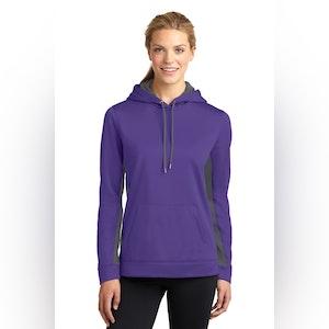 Sport-Tek Ladies Sport-Wick Fleece Colorblock Hooded Pullover. LST235