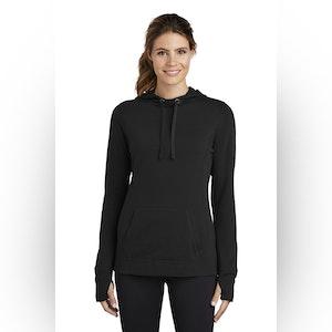 Sport-Tek  Ladies PosiCharge  Tri-Blend Wicking Fleece Hooded Pullover. LST296
