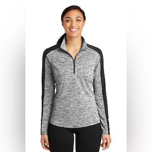 Sport-Tek Ladies PosiCharge Electric Heather Colorblock 1/4-Zip Pullover. LST397