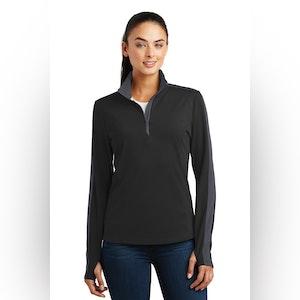 Sport-Tek Ladies Sport-Wick Textured Colorblock 1/4-Zip Pullover. LST861
