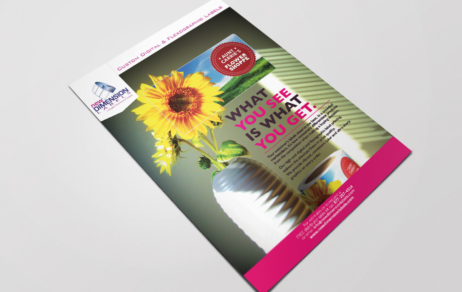 New Dimension Labels print ad design for Print Solutions Magazine