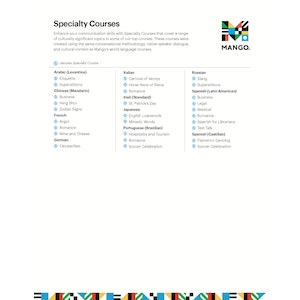 Specialty Courses List