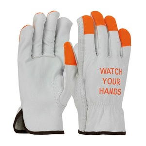 Cowhide Leather Grain Gloves (Orange)