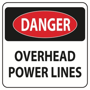 Caution Overhead Powerlines Banner (2' X 3')