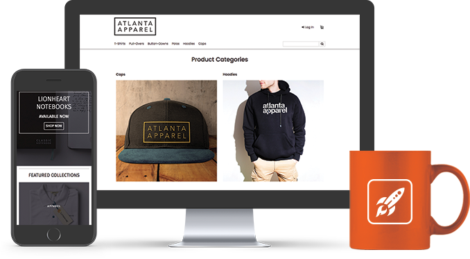 Example of a Liftoff ecommerce site illustrating Liftoff's mobile responsiveness, product customization examples, and stylish homepage theme options